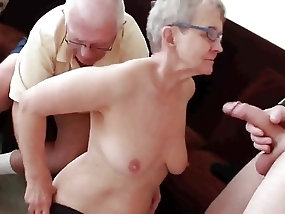 Old dude pays a youngster to fuck his mature wife