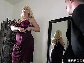 Curvaceous blonde cougar rides her new son in law's boner