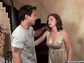 Big breasted mom has wild perversions with her young lover