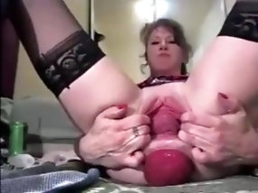 Stockinged Milf in the anal prolapse and pussy stretching action